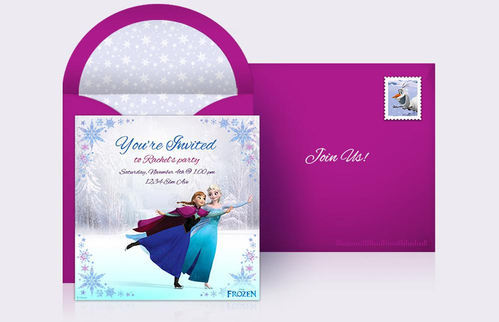 Frozen Ice Skating Birthday Invitations Custom Templates