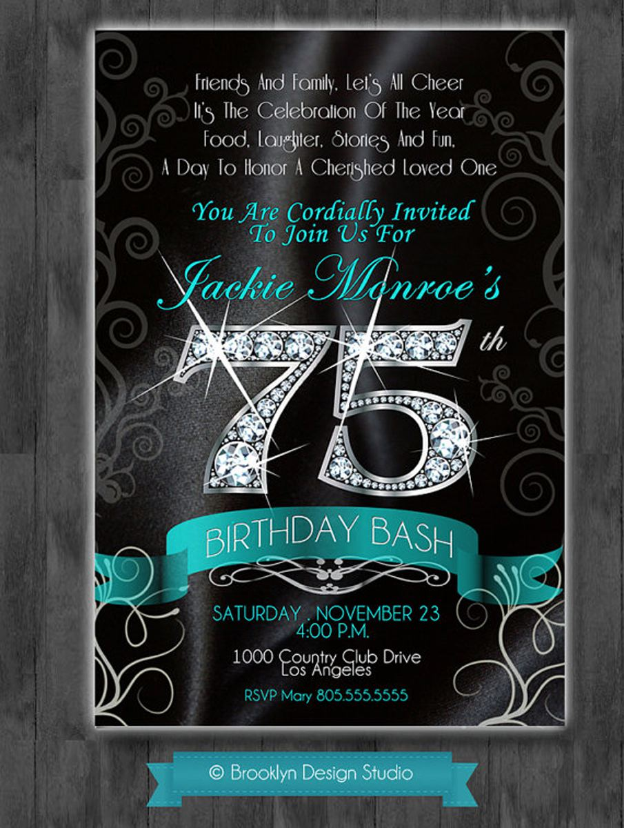 Glamour Celebrate 75th Birthday Party Invitations Templates Sample Printable