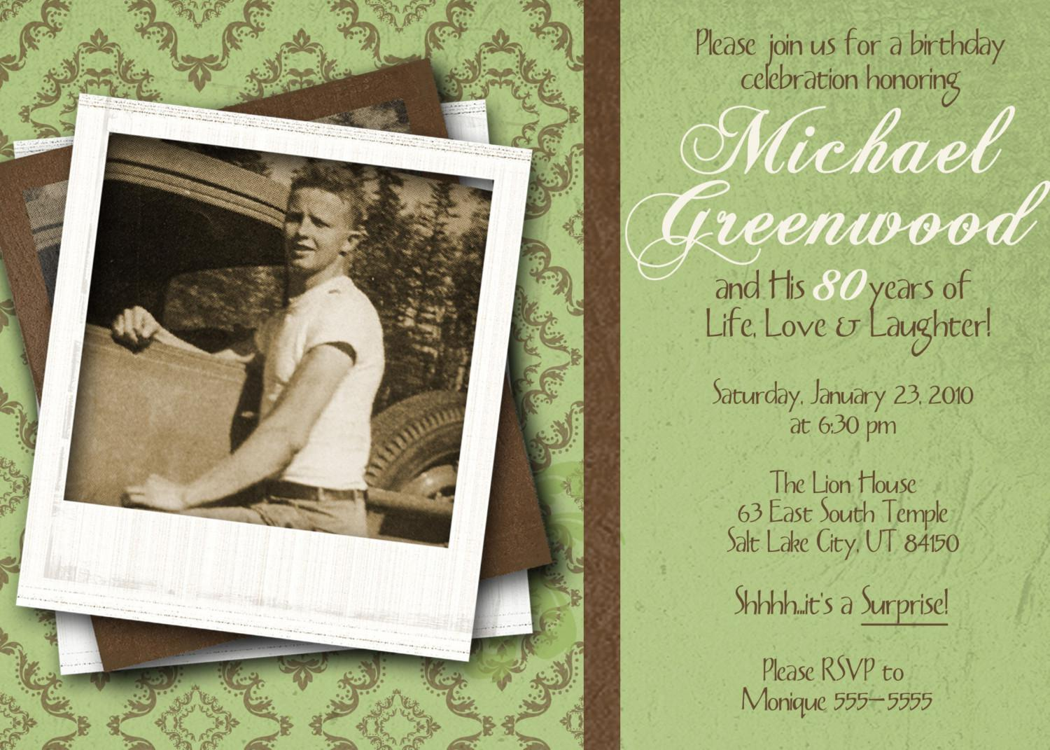 Green Theme 80th Birthday Invitations Card Templates With Photo