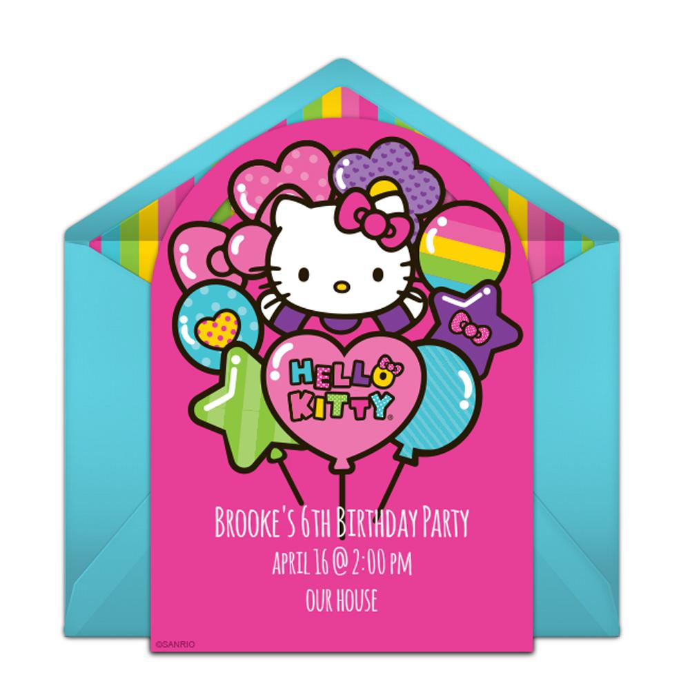Hello Kitty Baloons Birthday Invitations Templates