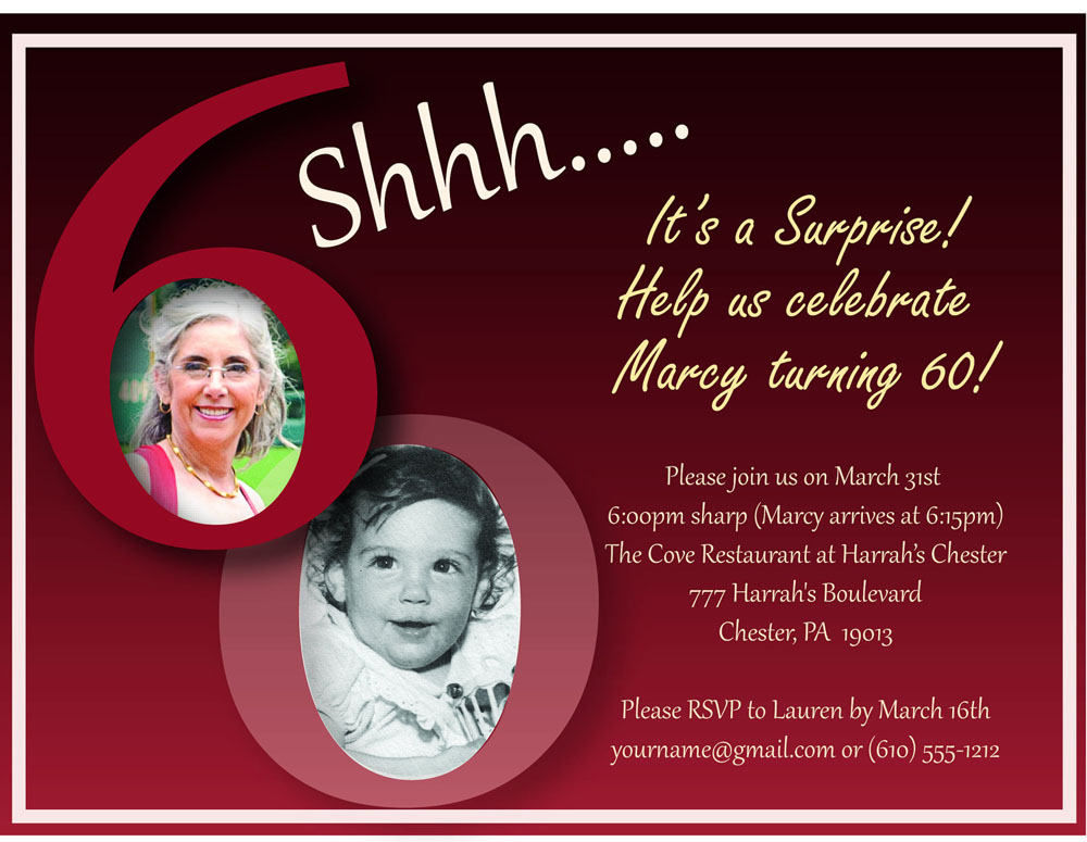 Ideas For Surprise 60th Birthday Party Invitations Templates