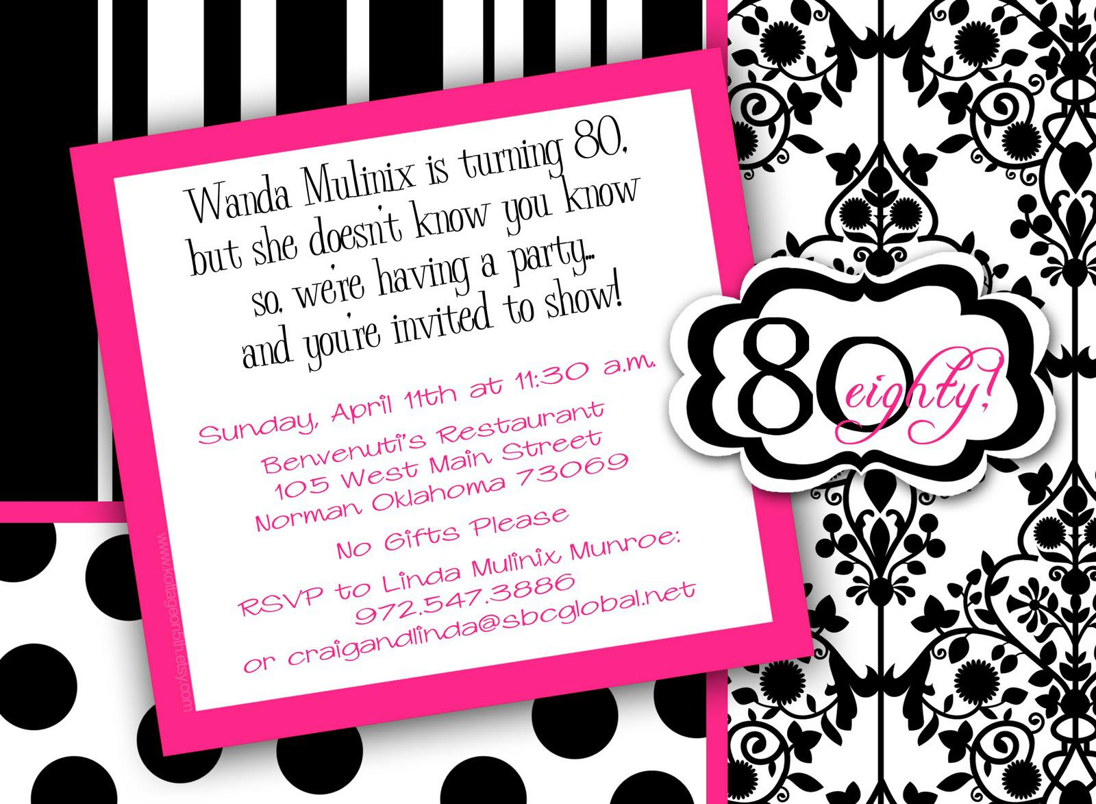 Insipre 80th Birthday Invitations Templates Zebra Theme With Black And White