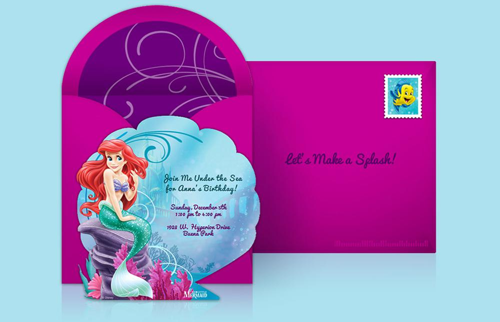 Little Mermaid Disney Birthday Under The Sea Invitations Custom