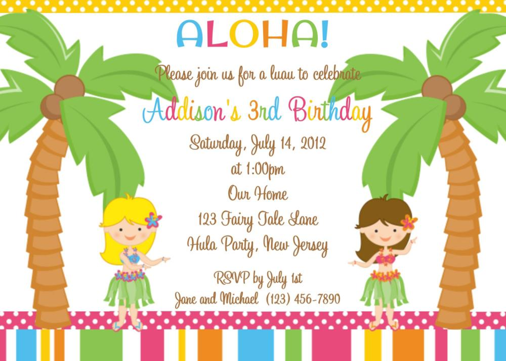 Luau Kids Birthday Invitations Wording For Twin Girls