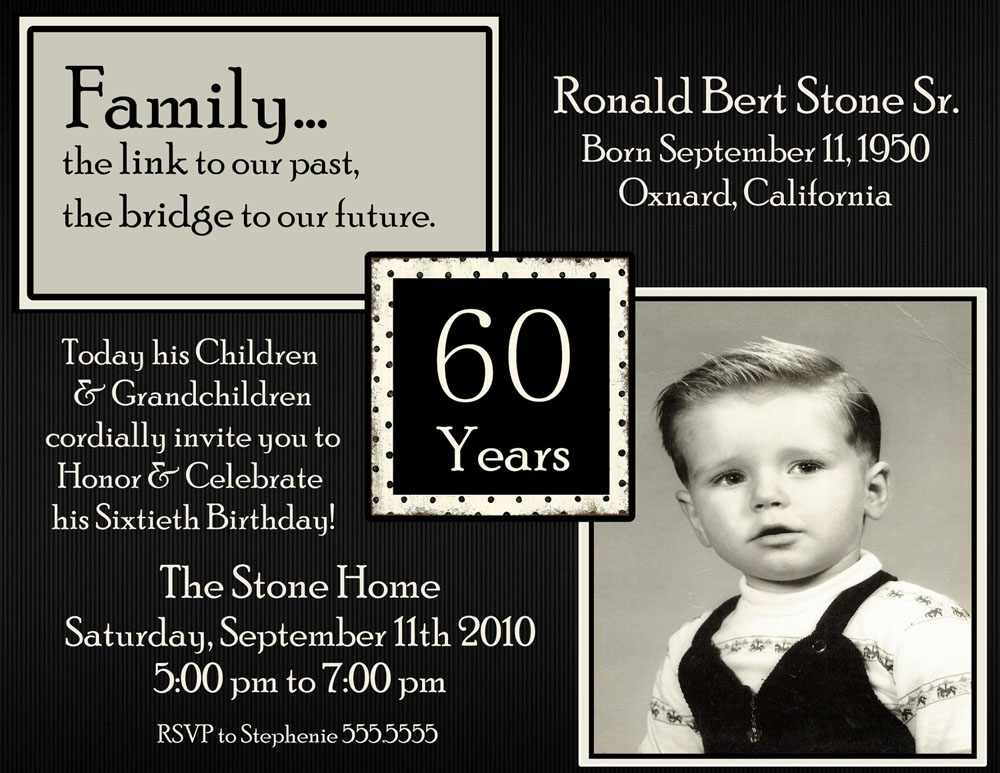 Male 60th Birthday Party Invitations Wording Templates