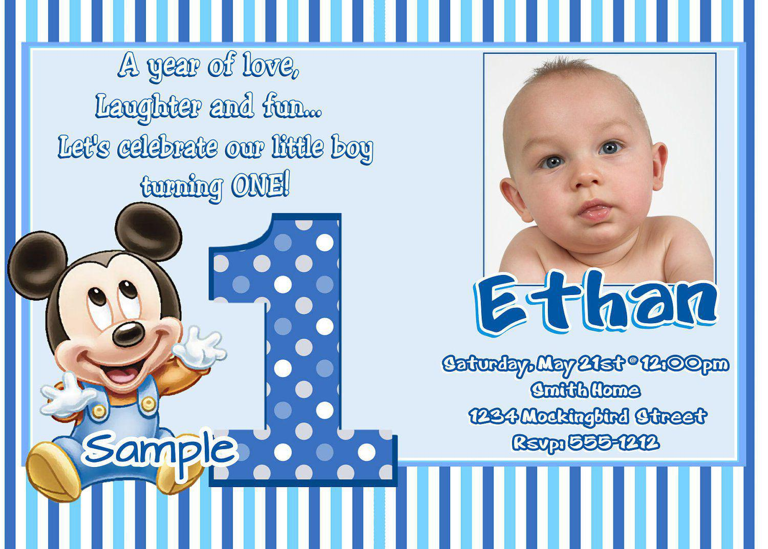 Mickey Mouse First Birthday Invites Wording