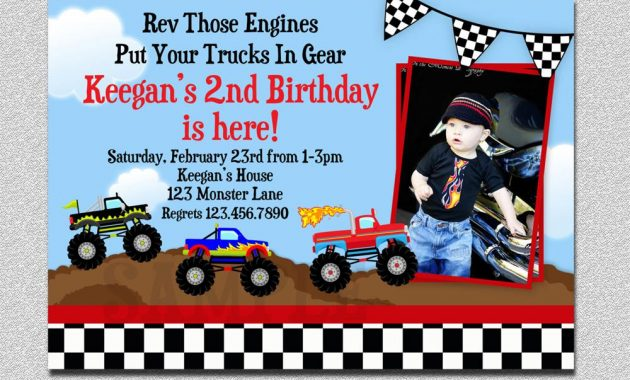 Monster Truck Birthday Invitations With Photo Sample Custom