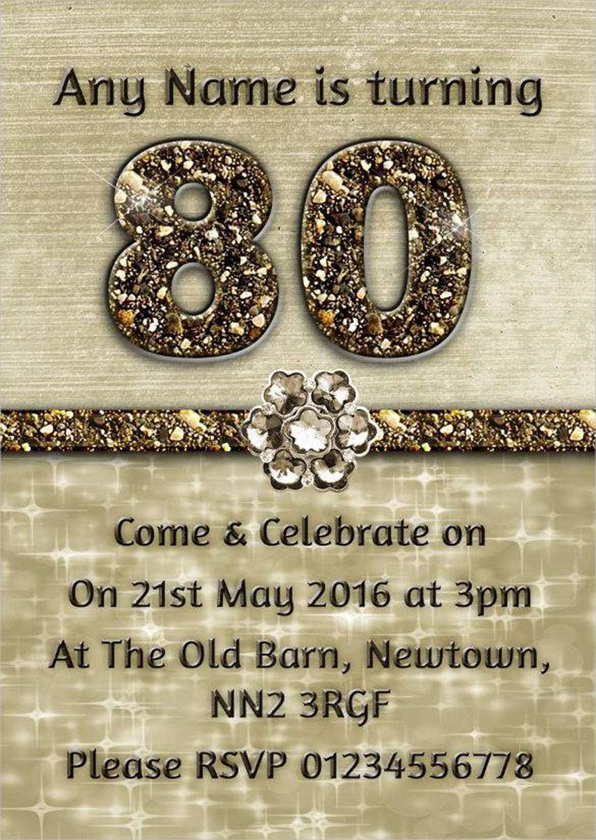 Personalised Titanium Gold Sparkly 80th Birthday Party Invitations
