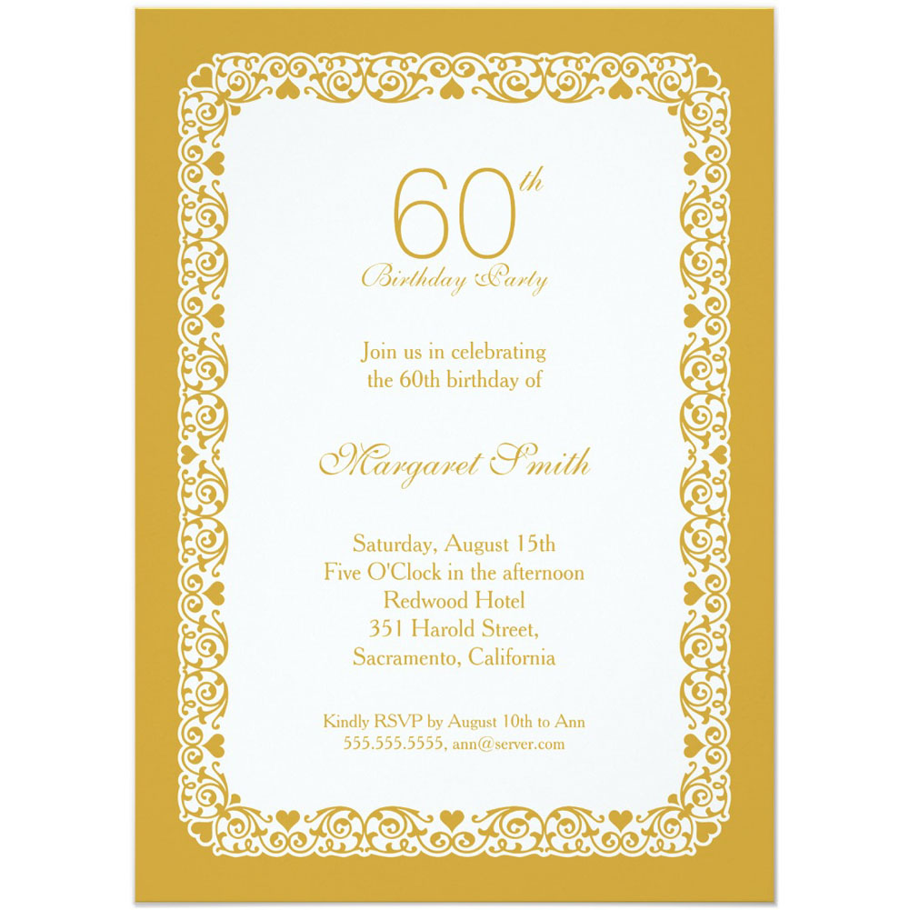 Personalized 60th Birthday Party Invitations For