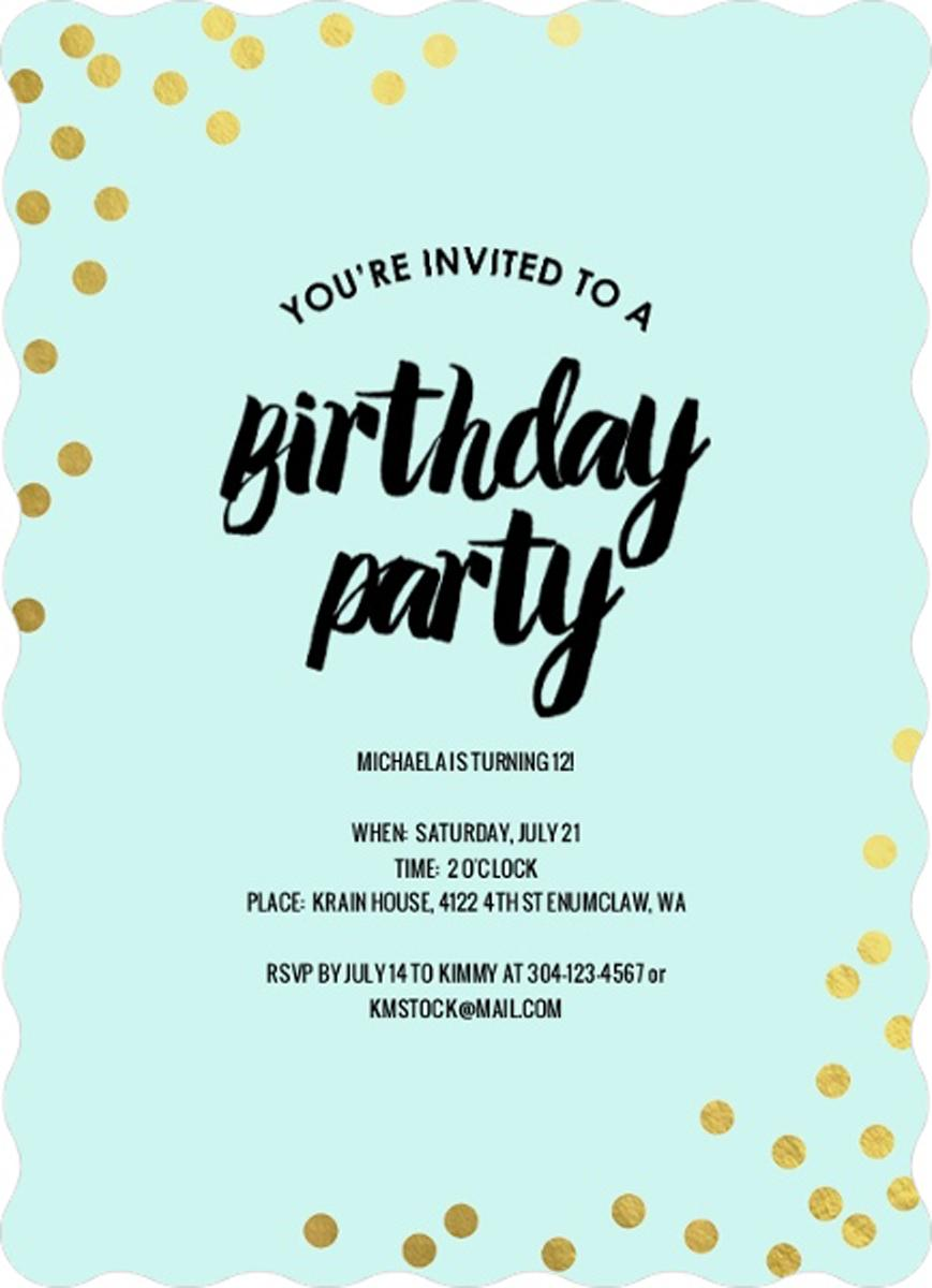 Personalized Teen Birthday Invitations