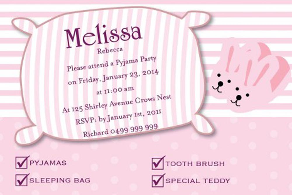 Pillow Teen Birthday Invitations Wording