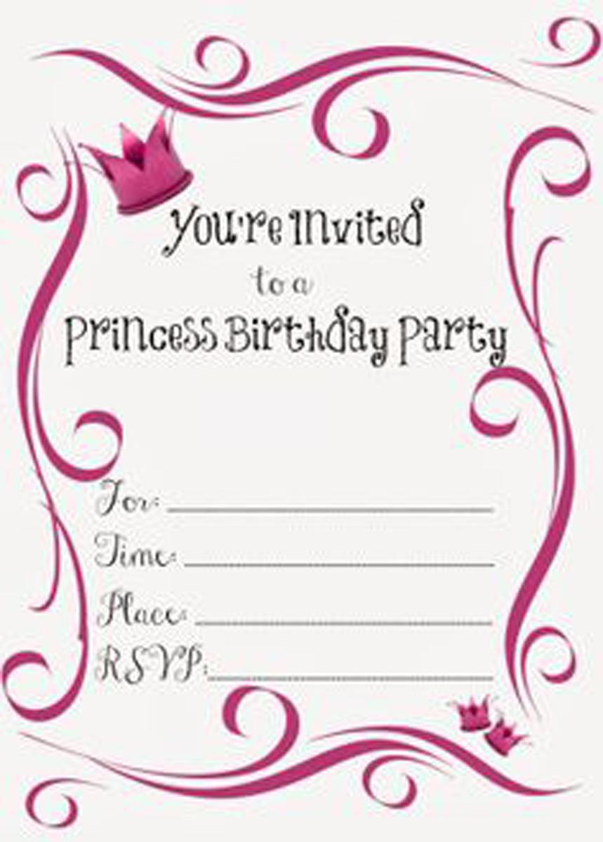 Princess Invited Teen Birthday Party Invitations