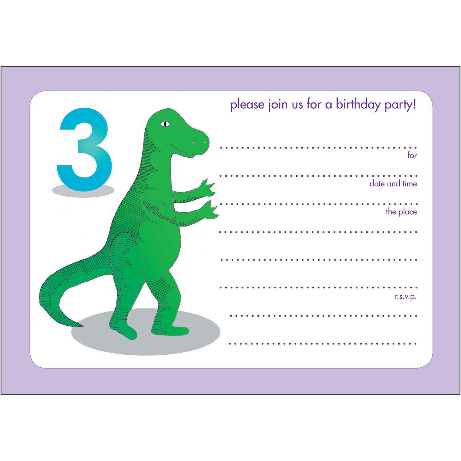 Printable 3td Dinosaur Birthday Invitations Templates