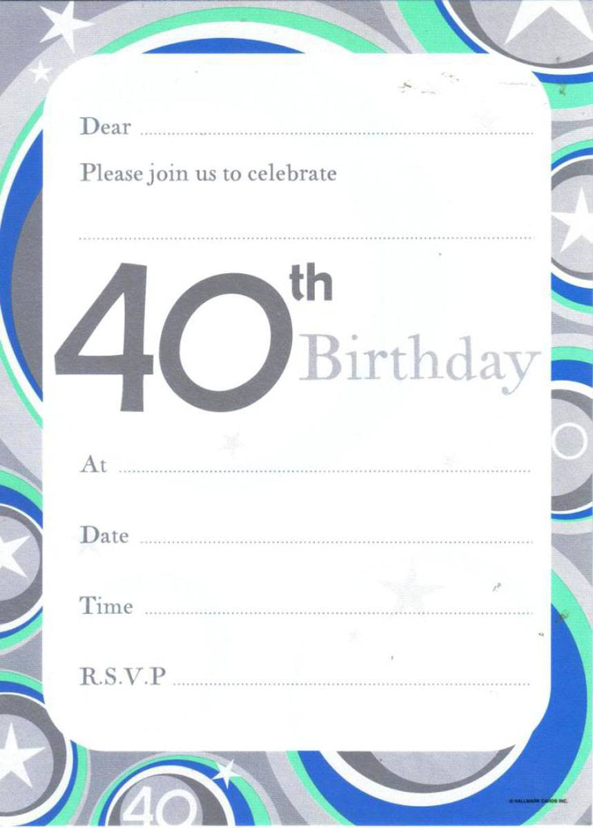 Printable 40th Cheap Birthday Invitations Templates
