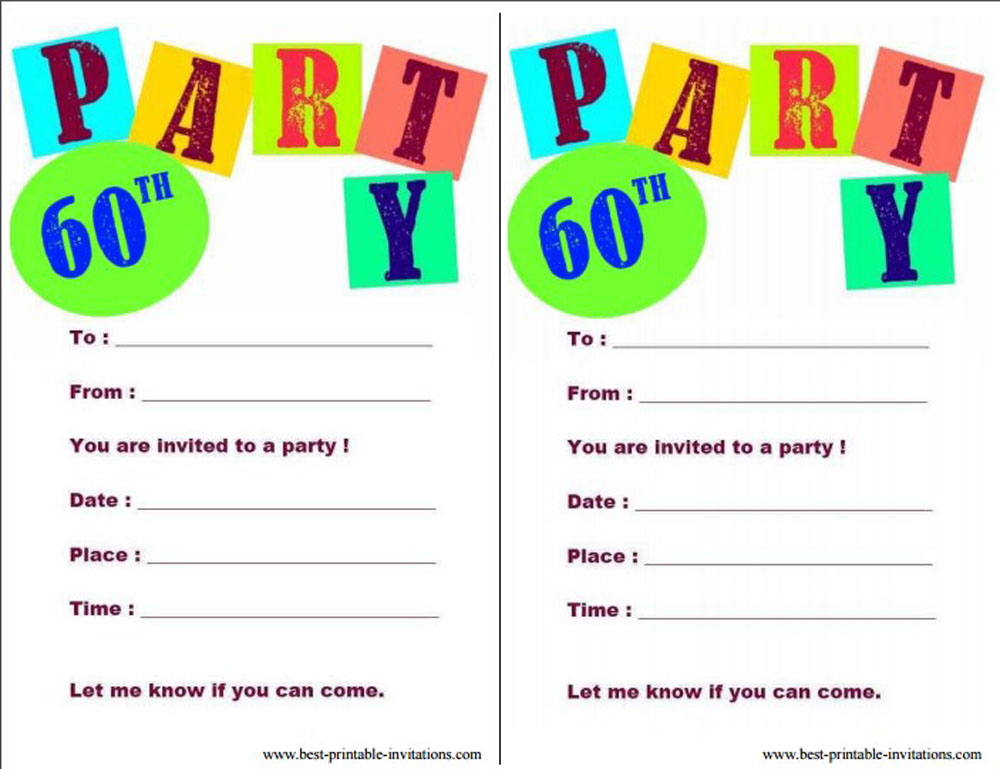 Printable 60th Birthday Party Invitations Card Templates