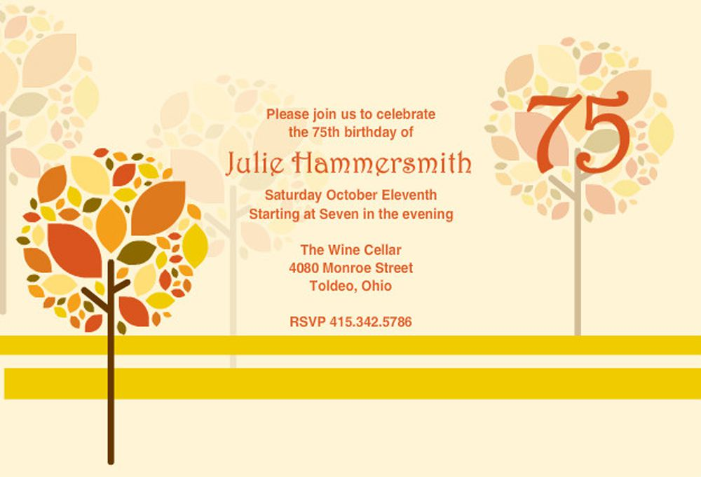 Printable 75th Birthday Invitations Wording Samples