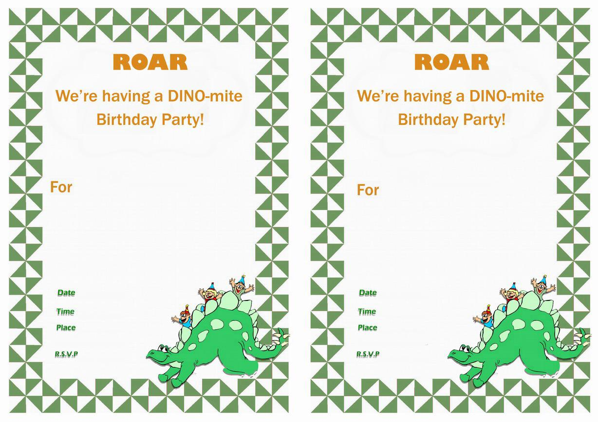 Printable Dinosaur Birthday Invitations Free