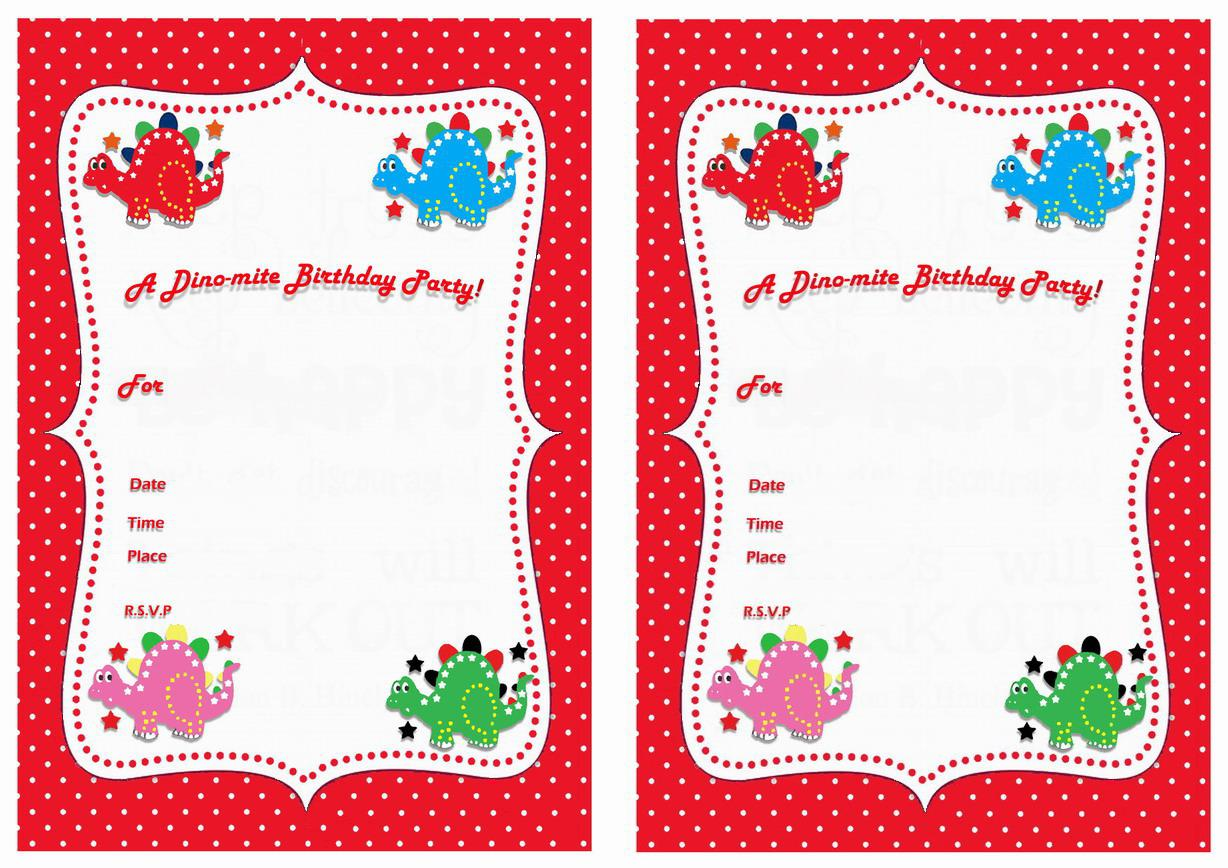 Printable Dinosaur Birthday Party Invitations Templates