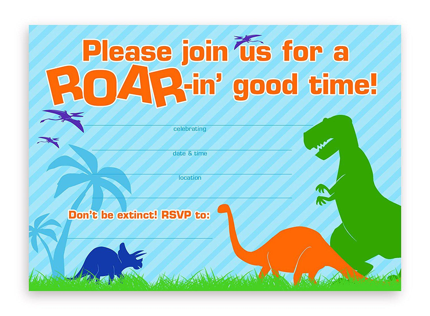 Printable Dinosaur Birthday Party Invitations