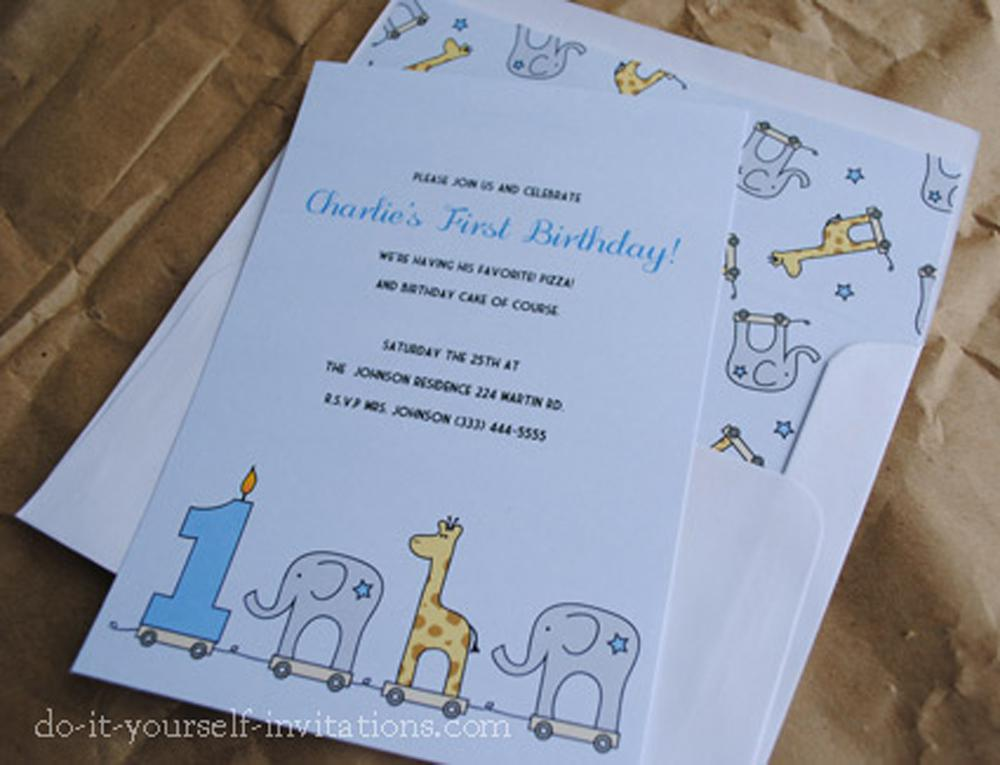 Printable First Birthday Invites Party Elephant And Giraffe