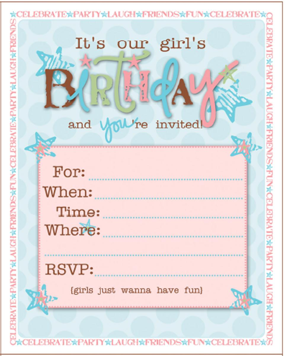 Printable Teen Birthday Invitations Blank Page
