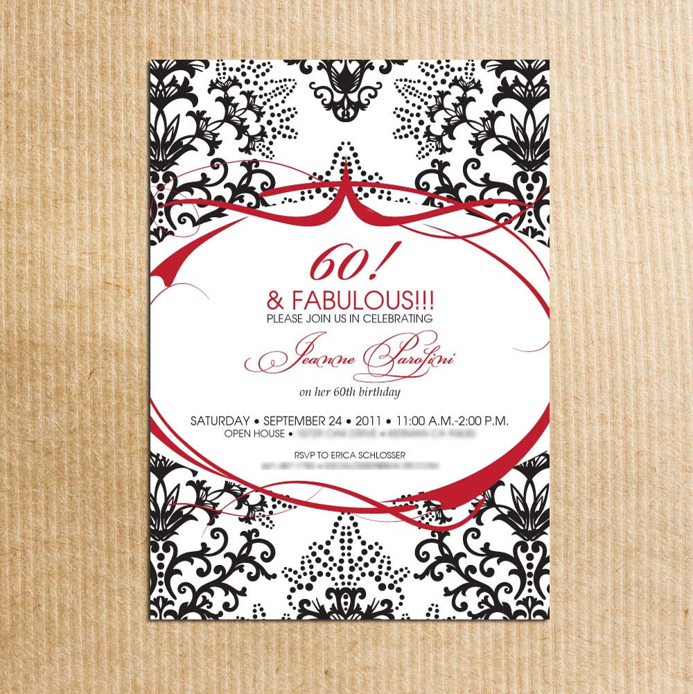 Sample Card 60th Birthday Party Invitations
