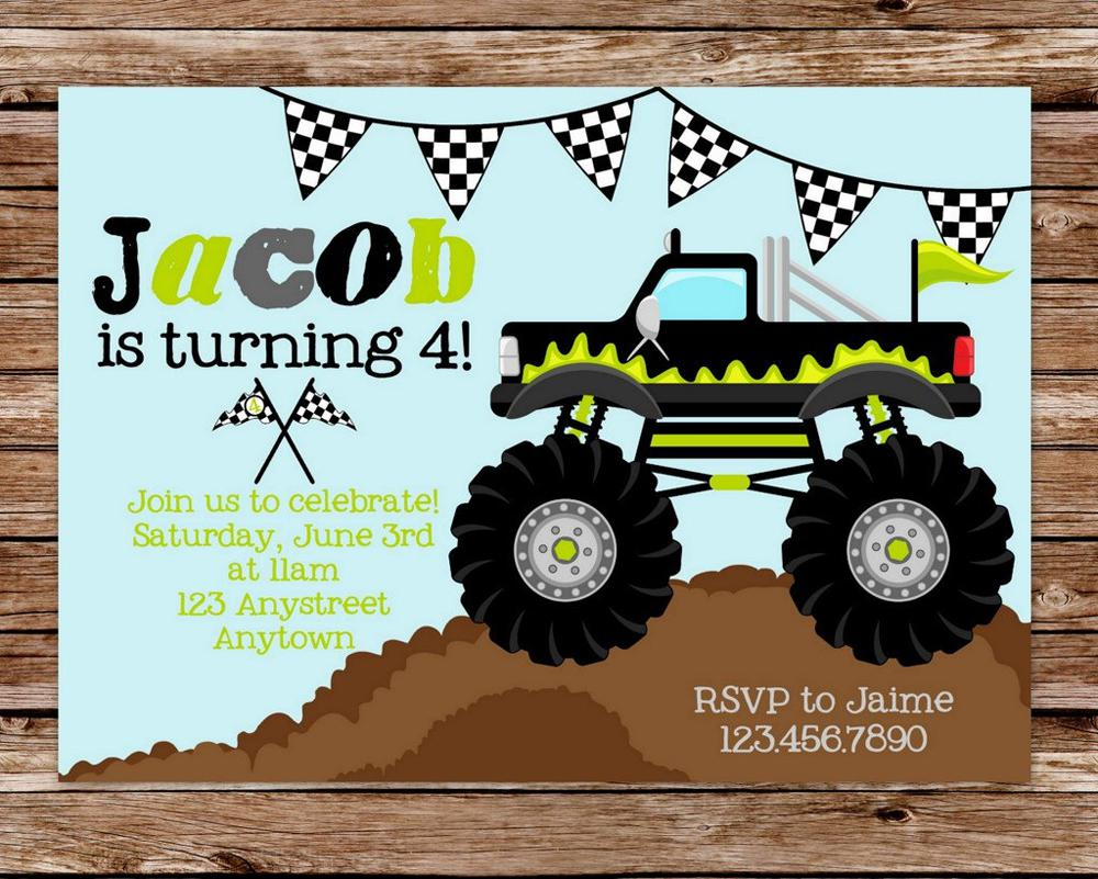 Sample Custom Monster Truck Birthday Invitations Card