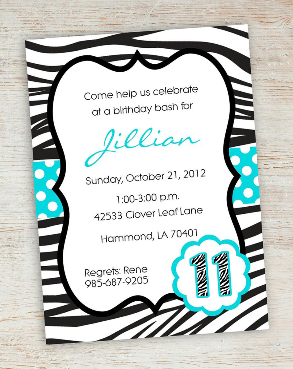 Samples Zebra Teen Birthday Invitations Templates