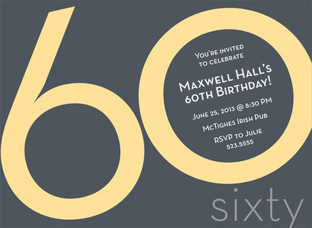 Sixty Birthday Invitations Card Ideas