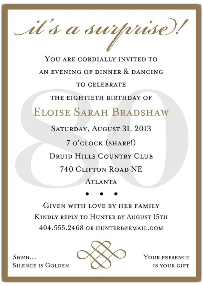 Surprise 80th Birthday Party Invitation Templates