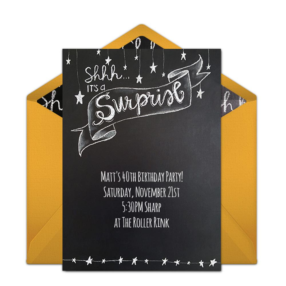 Surprise Party Birthday Invitations Custom