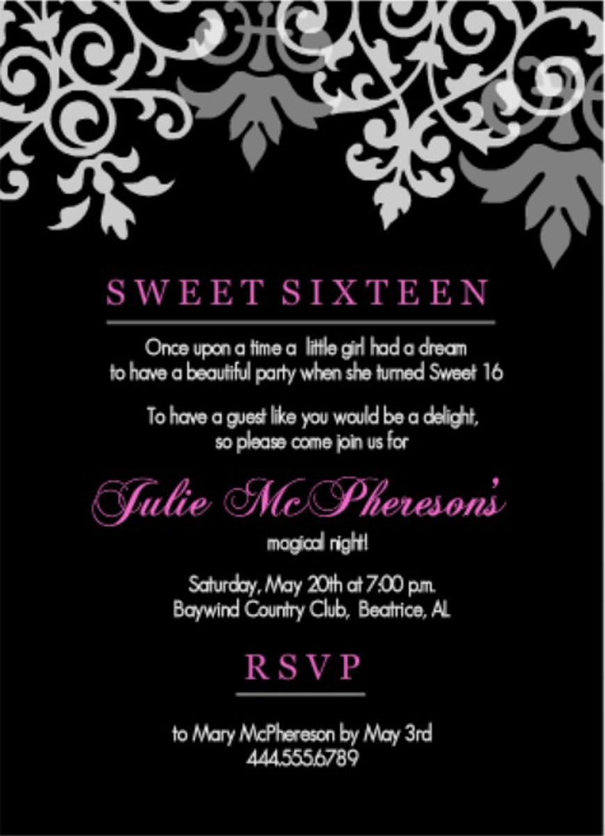 Sweet Sixteen Teen Birthday Invitations Wording