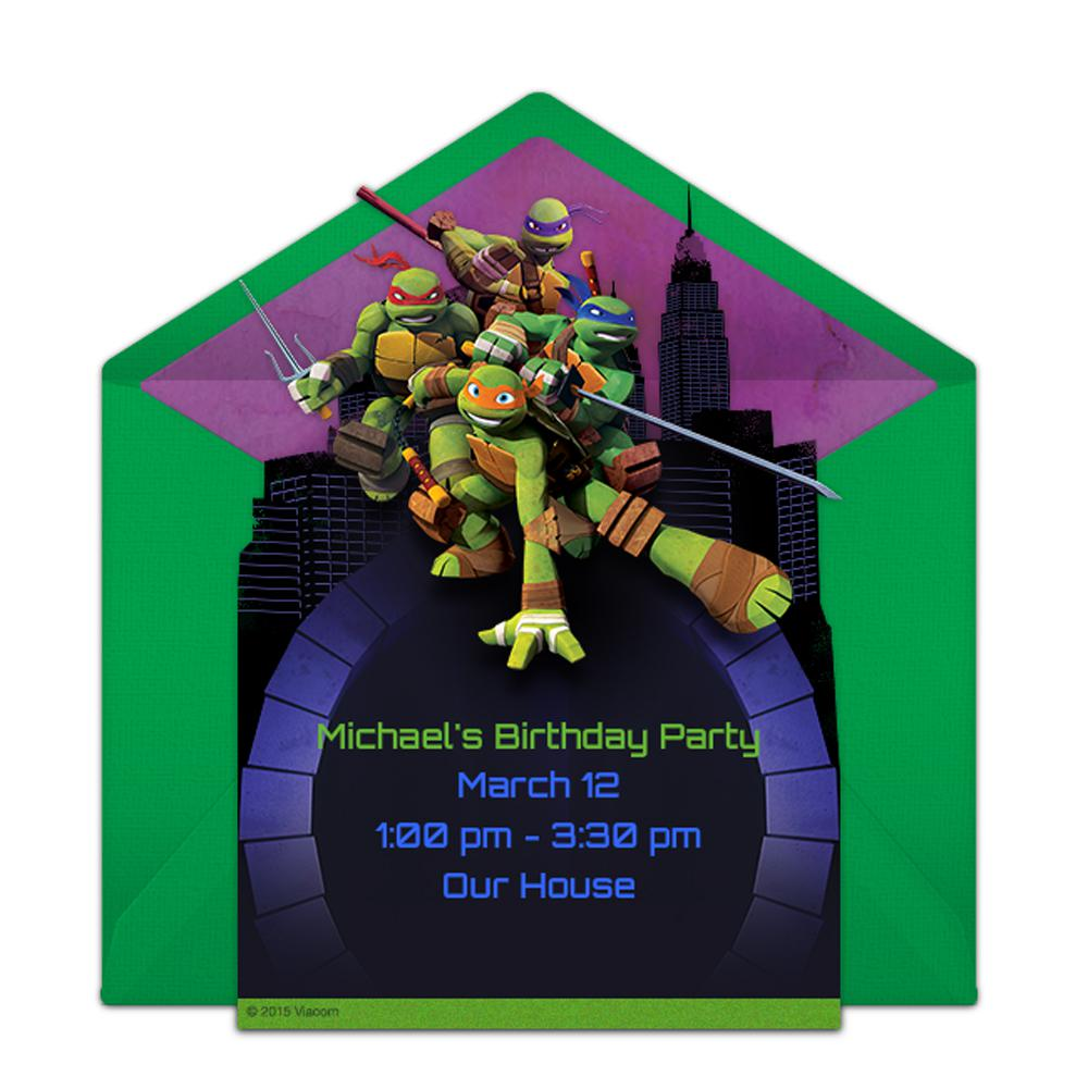 TMNT Action Pose Ninja Turtles Birthday Invitations Templates For First Birthday
