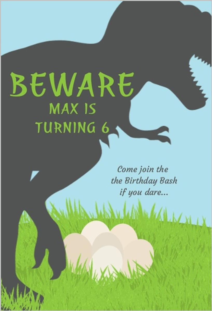 Trex Dinosaur Birthday Party Invitation Turning 6th Birthday