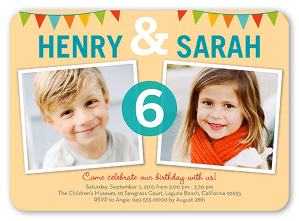 Twin Boy and Girls Birthday Invitations For Kids + Free Templates Personalized