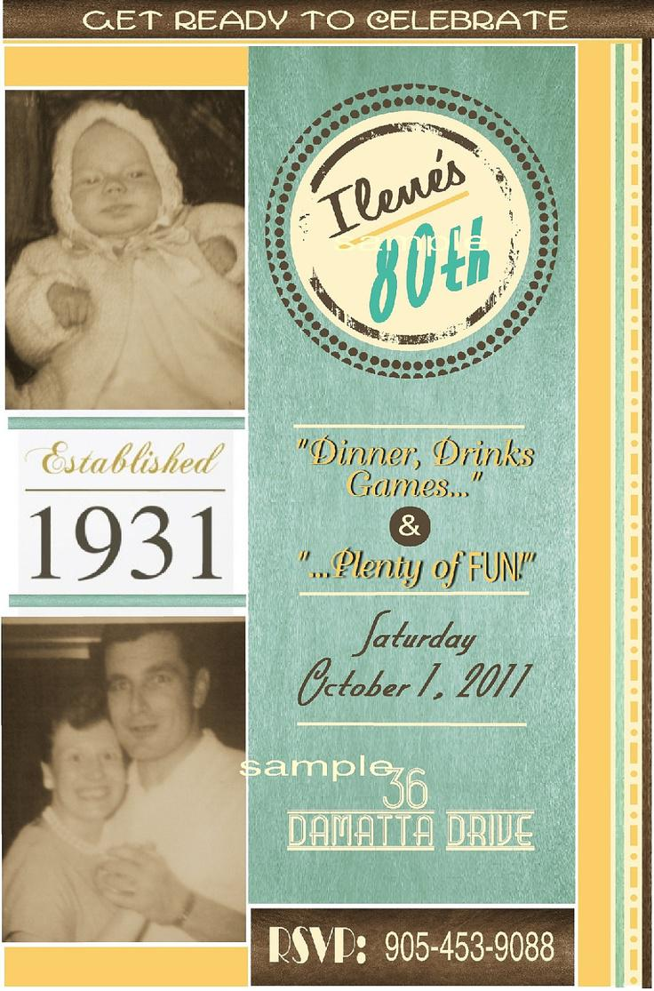 Unique Sample 80th Birthday Invitations Sample Card Templates