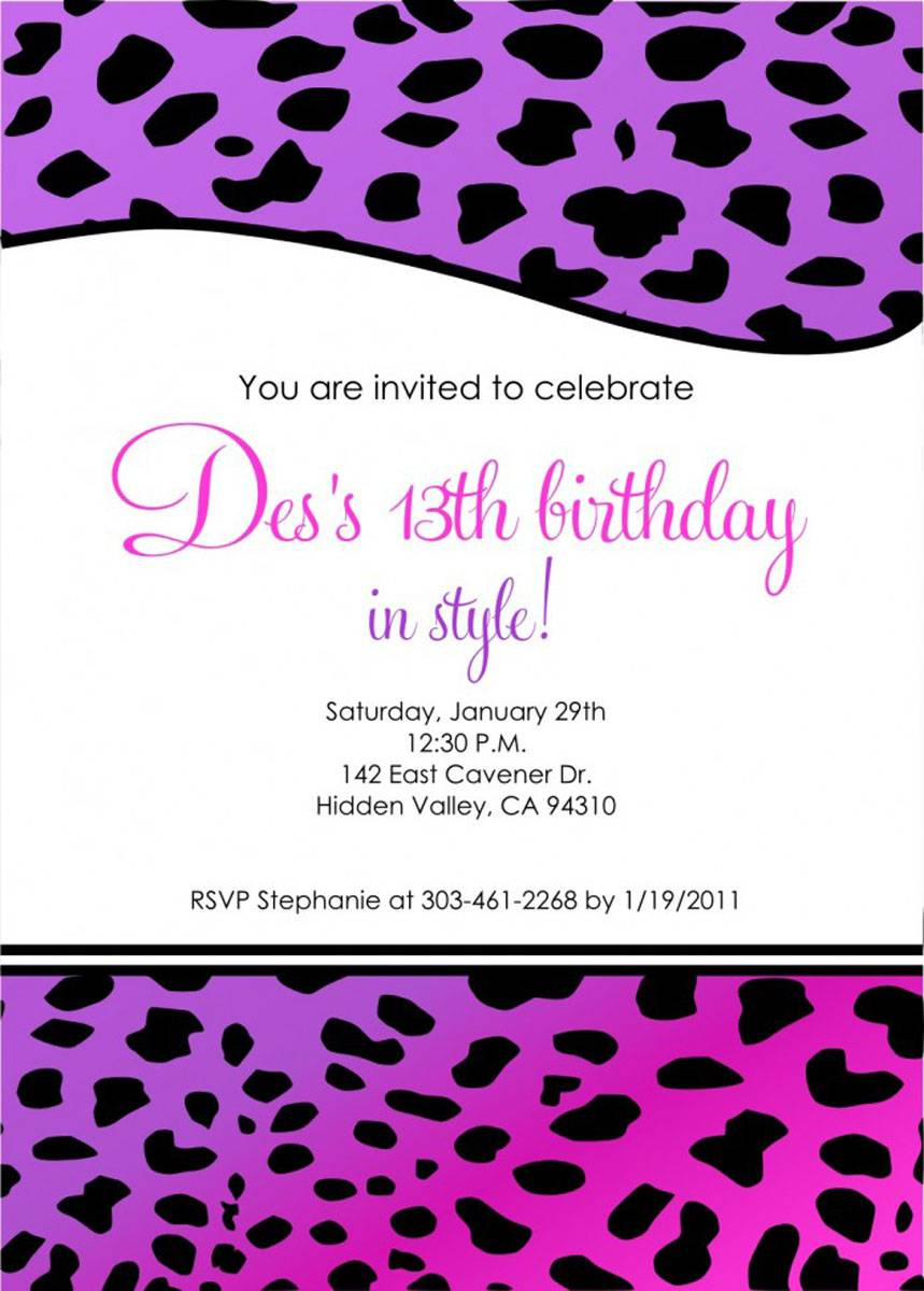 Cheap 13th Birthday Invitations Black Purple Templates