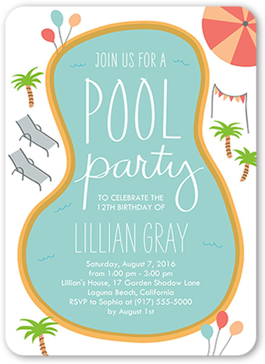 Pool Birthday Party Invitations For Kids Templates