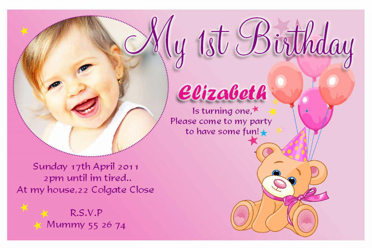 1st Birthday Invitation Wording