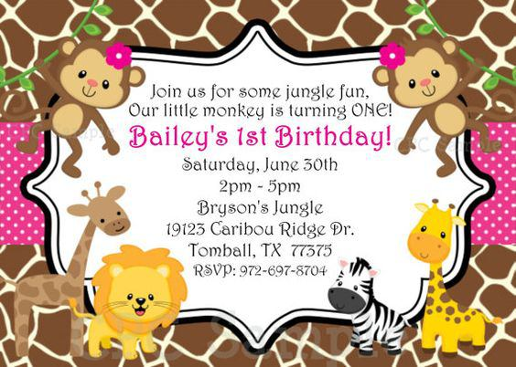 1st Jungle Birthday Girl Invitation Monkey