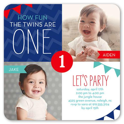 1st Twins Birthday Invitations
