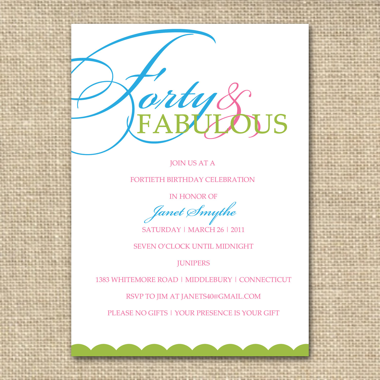 40th Birthday Invite Wording Ideas