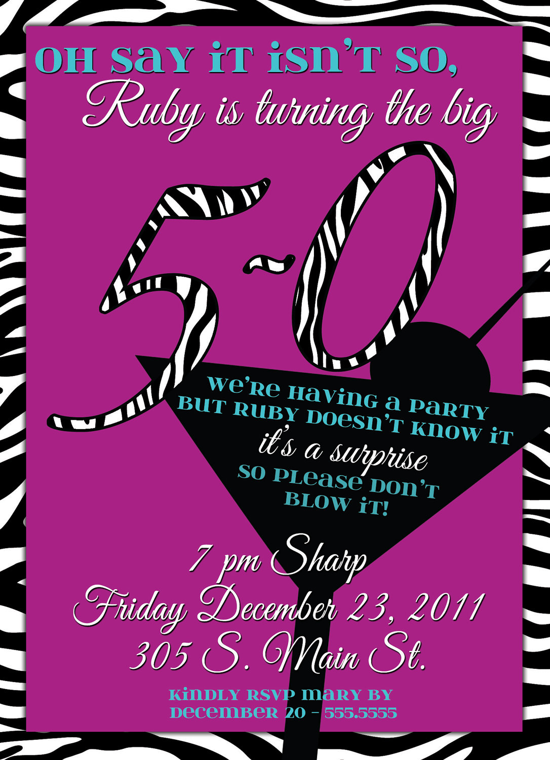 50th Birthday Invitations Zebra Purple Wine Theme For Party
