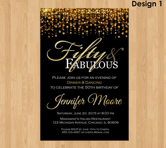 50th And Fabulous Milestone Birthday Invitation For Women