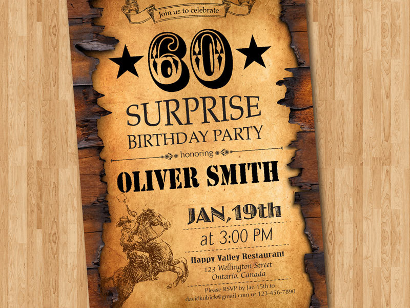 60th Western Birthday Invitations for Adults