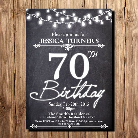 70th Birthday Invitation For Women And Mens