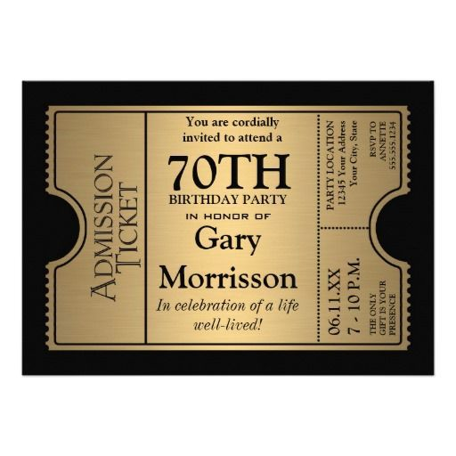 70th Birthday Invitations Ticket Celebration