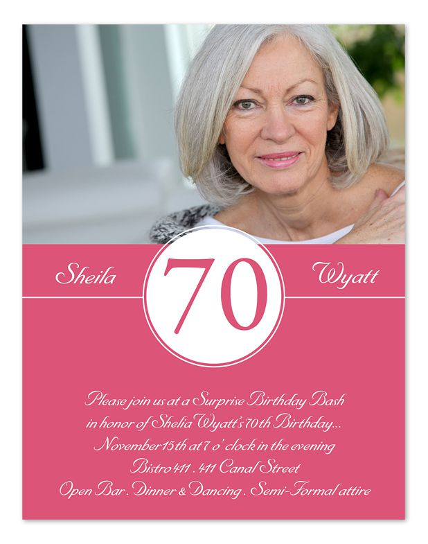 70th Birthday Invitations Wording With Photo