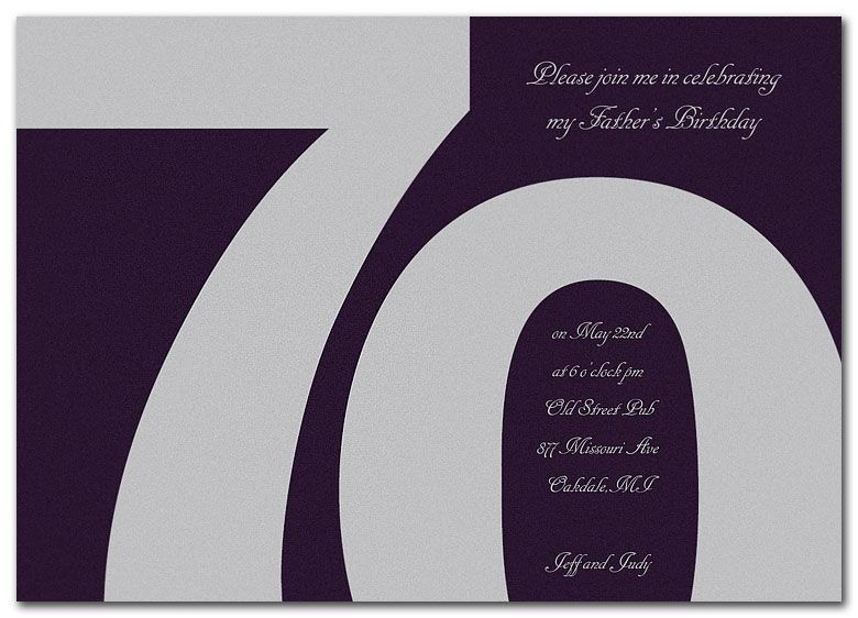 70th Birthday Invitations Wording