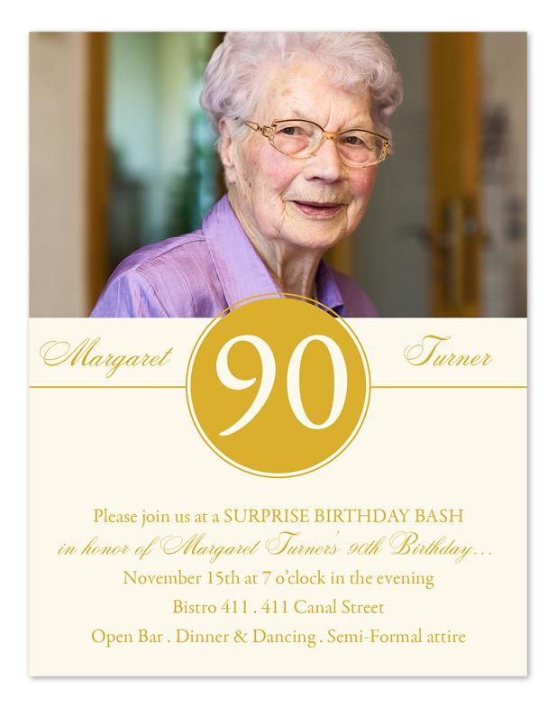 90th Birthday Invitations Milestone